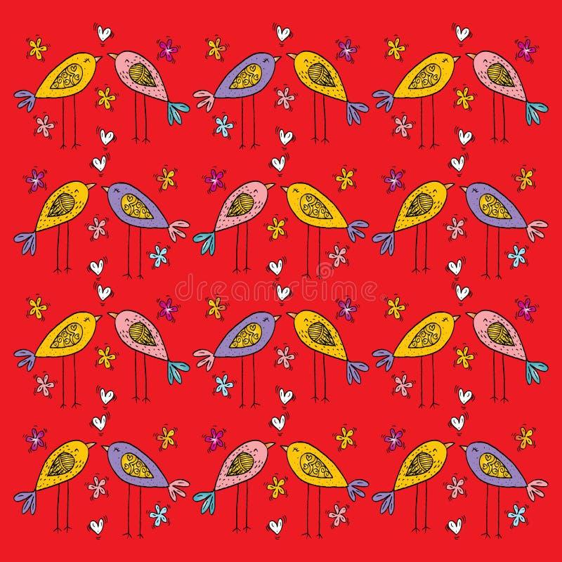 Cartoon birds pattern. Hand drawing illustration stock illustration