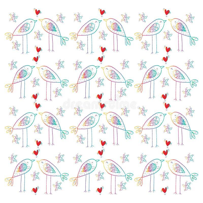 Cartoon birds pattern. Hand drawing illustration royalty free illustration