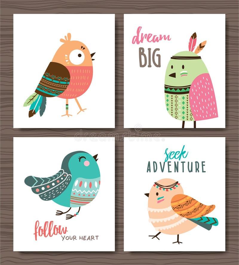 Cartoon birds poster vector illustration