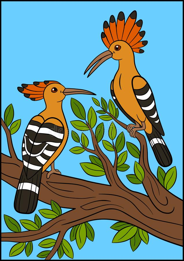 Cartoon birds. Two beautiful hoopoes sit on the branch stock illustration