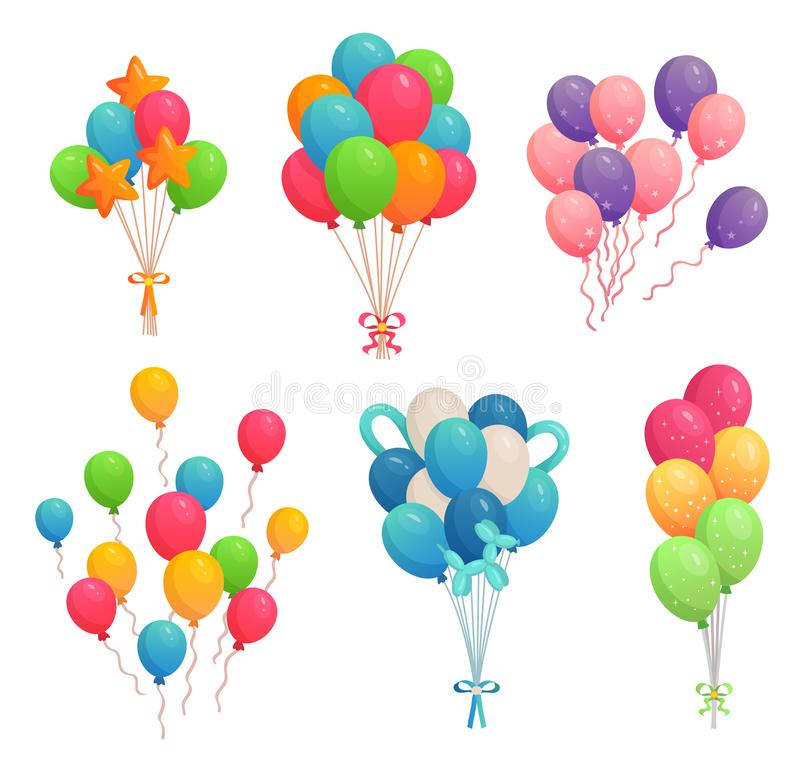 Cartoon birthday balloons. Colorful air balloon, party decoration and flying helium balloons on ribbons vector royalty free illustration