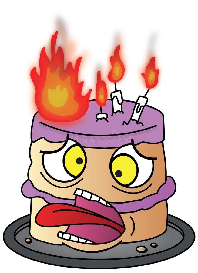 Cartoon Birthday Cake on Fire stock photos