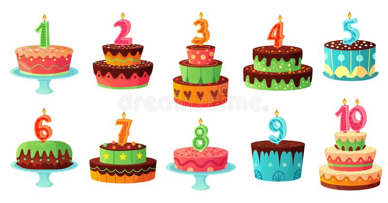 Cartoon birthday cake numbers candle. Anniversary candles, celebration party cakes vector illustration set. Cartoon birthday cake numbers candle. Anniversary royalty free illustration