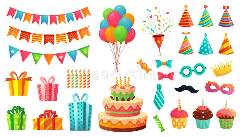 Cartoon birthday party decorations. Gifts presents, sweet cupcakes and celebration cake. Colorful balloons vector stock illustration