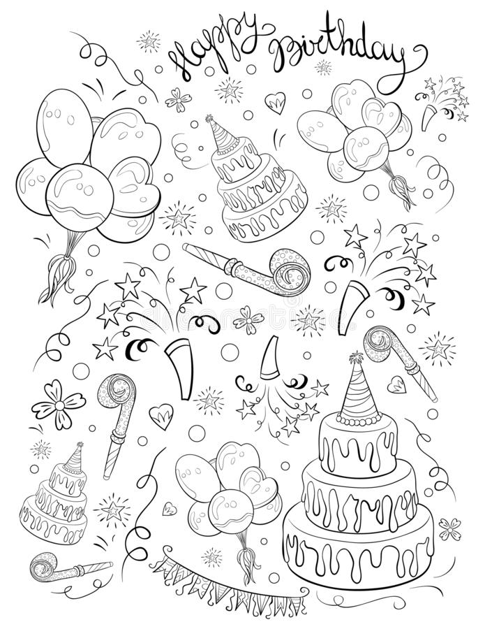 A coloring page,book a birthday theme with lettering image for children.Line art style illustration. A cartoon birthday theme image with lettering for children vector illustration