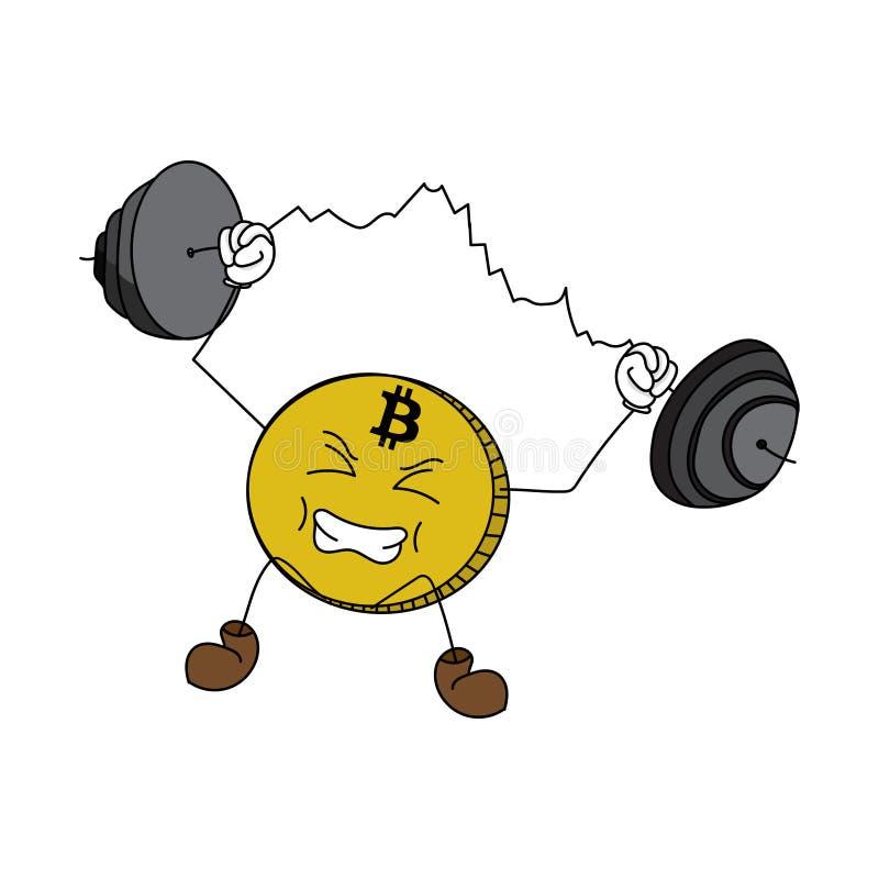 Cartoon bitcoin weight-lifting a chart vector illustration