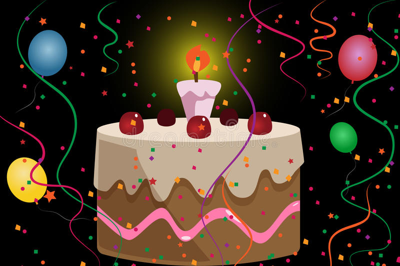 Cartoon bithday cake stock illustration
