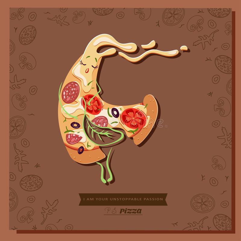 Cartoon bitten pizza character slice covered with a leaf of basil stock illustration