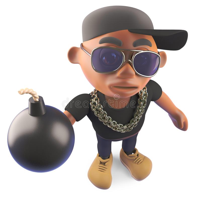 Cartoon black African American hiphop rapper holding a bomb, 3d illustration vector illustration