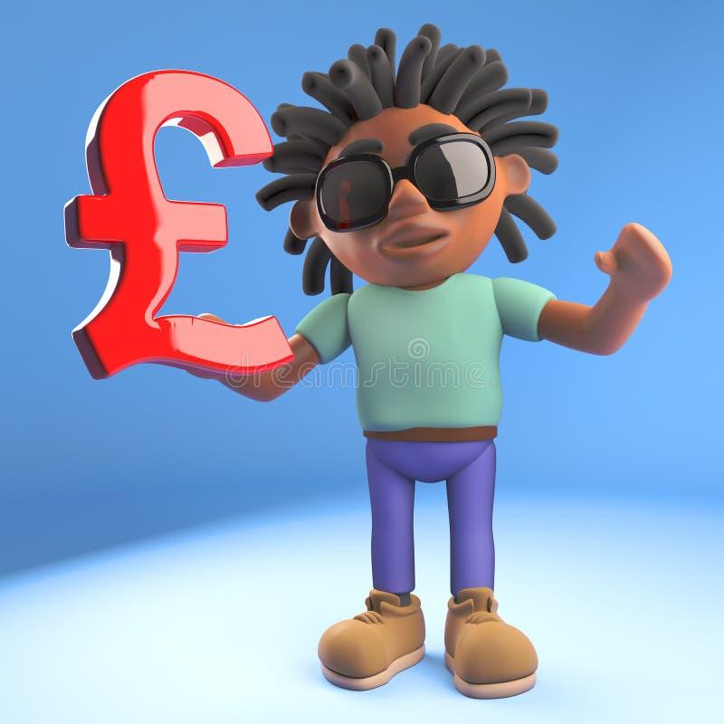 Cartoon black Afro Caribbean man with dreadlocks holding a UK Pound sterling symbol, 3d illustration vector illustration