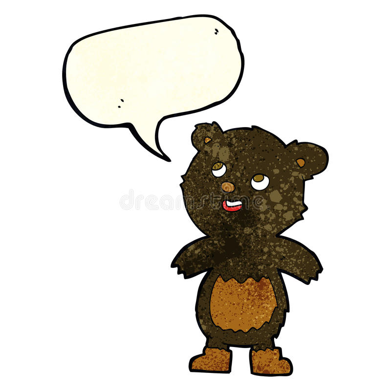 Cartoon black bear with speech bubble stock illustration