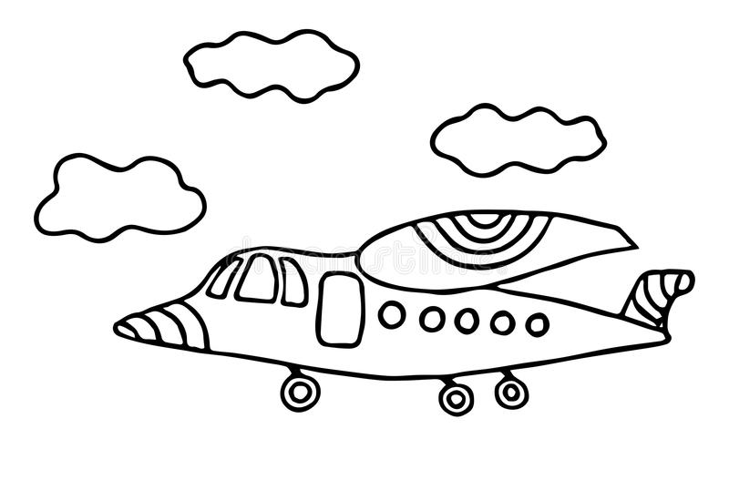 - Cartoon Black Line Airplane For Coloring Book Or Page Stock Vector -  Illustration Of Book, Happy: 119621062