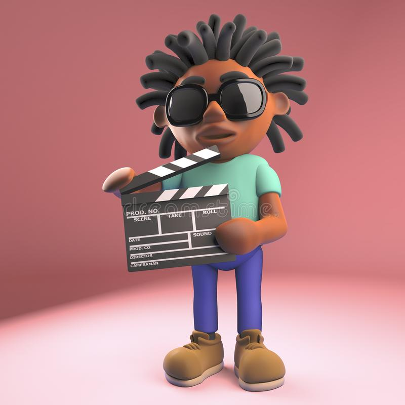 Cartoon black man holding a movie slate clapperboard, 3d illustration. Render stock illustration