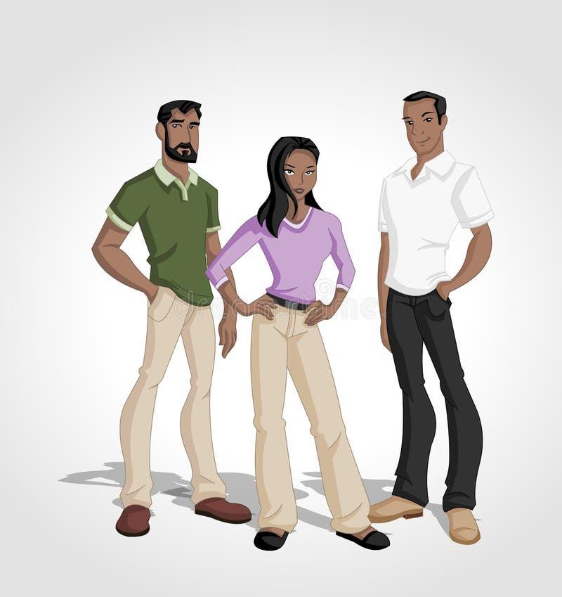 Cartoon black people vector illustration