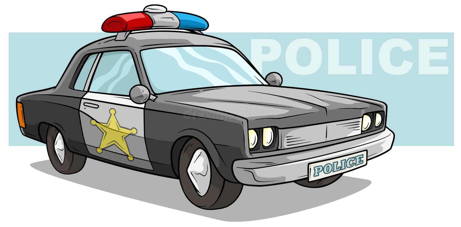Cartoon black police car with golden badge royalty free illustration