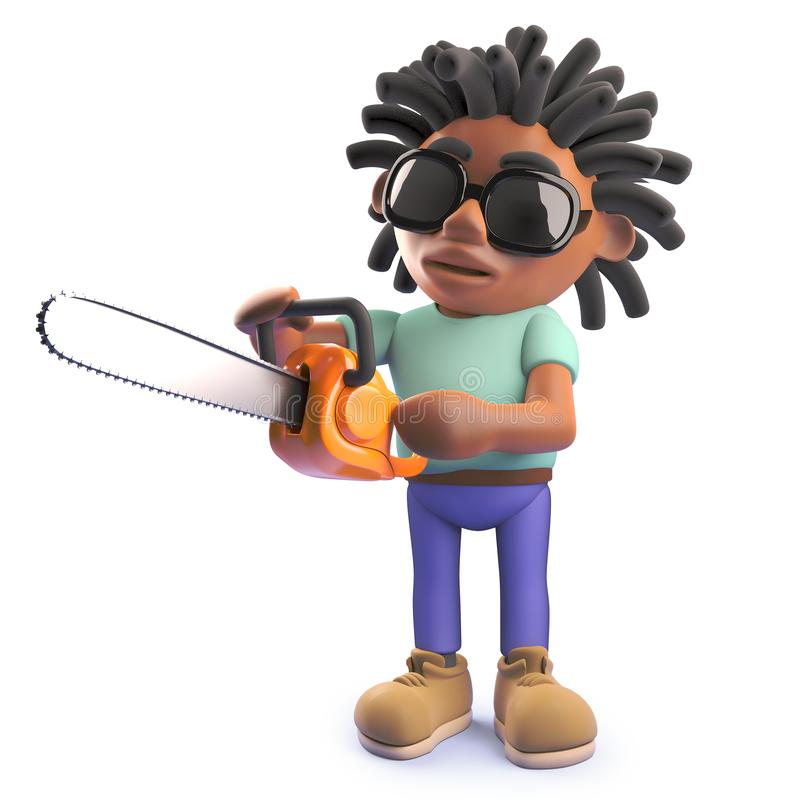 Cartoon black rastafarian African man with chainsaw, 3d illustration stock illustration