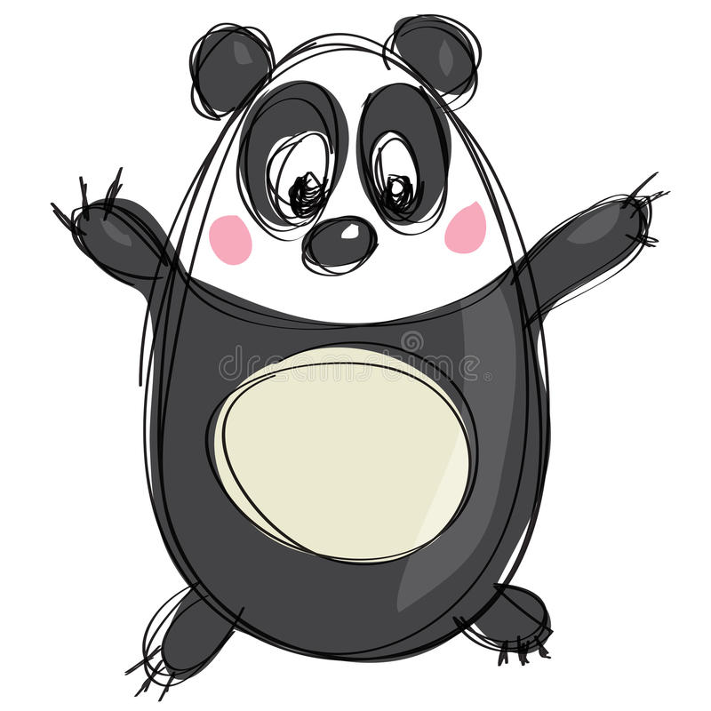 Download Cartoon Black And White Cute Panda As Naive Children Drawing Stock Vector