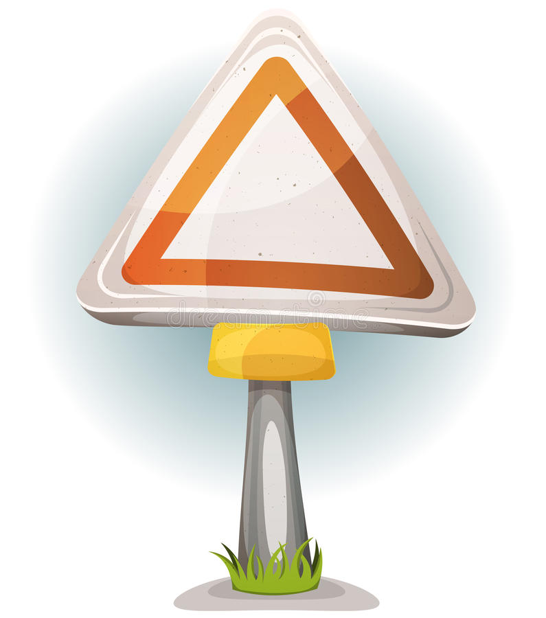 Cartoon Blank Road Sign. Illustration of a cartoon comic warning road sign with blank space royalty free illustration