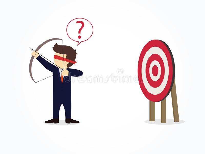 Cartoon blindfolded businessman shooting arrow miss the target. Vector illustration for business design and infographic stock illustration