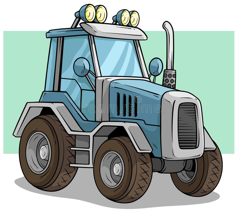 Cartoon blue agriculture machine truck or tractor vector illustration