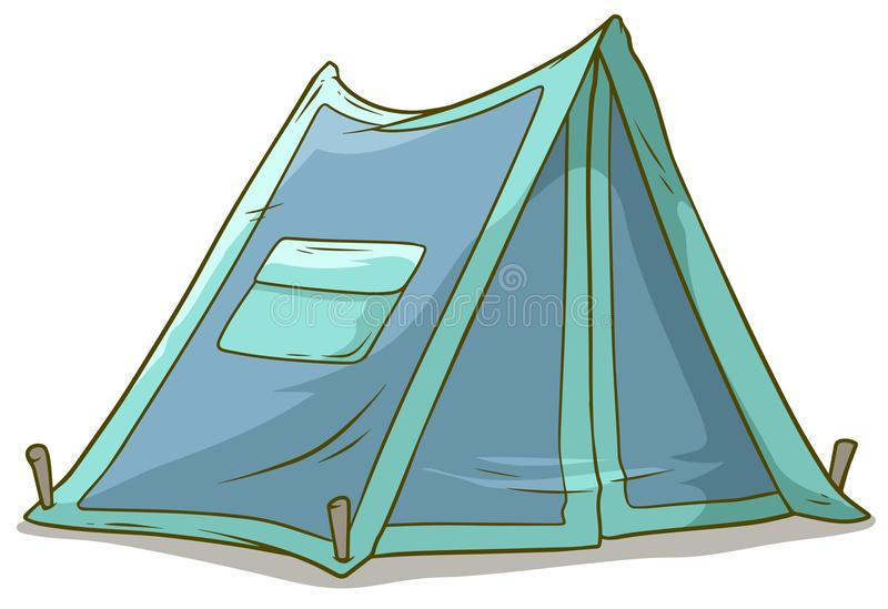 Cartoon blue camping tent with pocket. Isolated on white background. Vector icon vector illustration