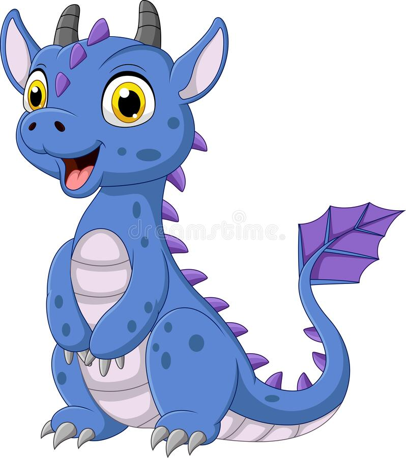 Free Cartoon Blue Dragon On White Background Royalty Free Stock Photography - 172454647