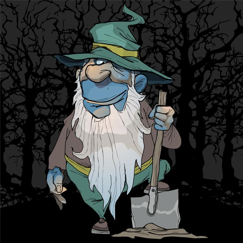 Cartoon blue dwarf stands with a shovel in the night forest vector illustration