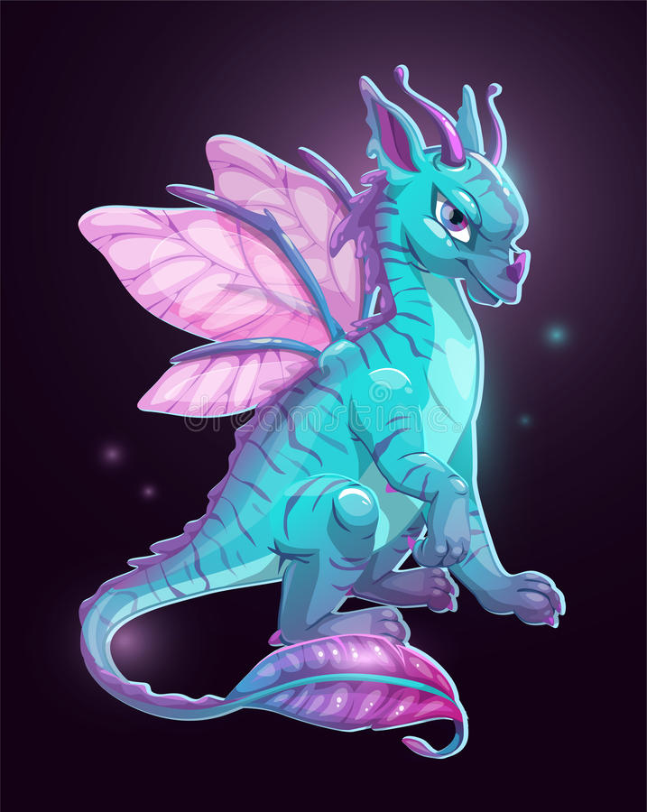 Free Cartoon Blue Fantasy Dragon Royalty Free Stock Image - 80025176