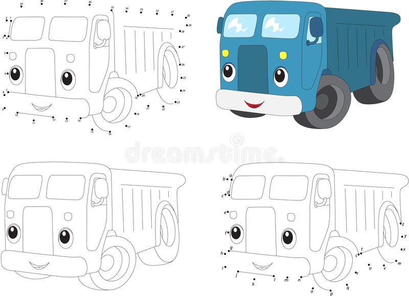 Cartoon blue lorry. Coloring book and dot to dot game for kids. Cartoon blue lorry. Coloring book and dot to dot educational game for kids vector illustration