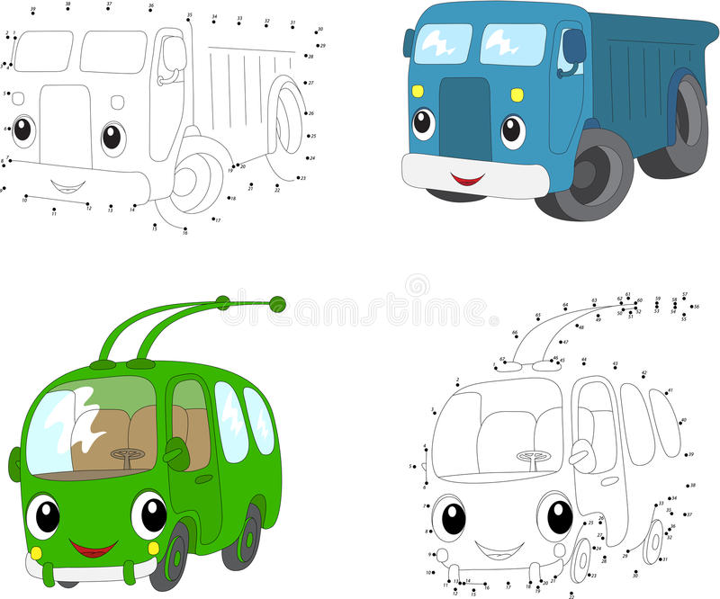 Cartoon blue lorry and green trolleybus. Vector illustration. Do. Cartoon blue lorry and green trolleybus. Dot to dot educational game for kids. Vector royalty free illustration