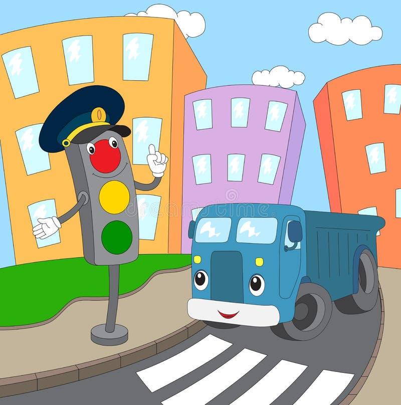 Cartoon blue lorry and traffic lights on a pedestrian crossing. Vector illustration stock illustration