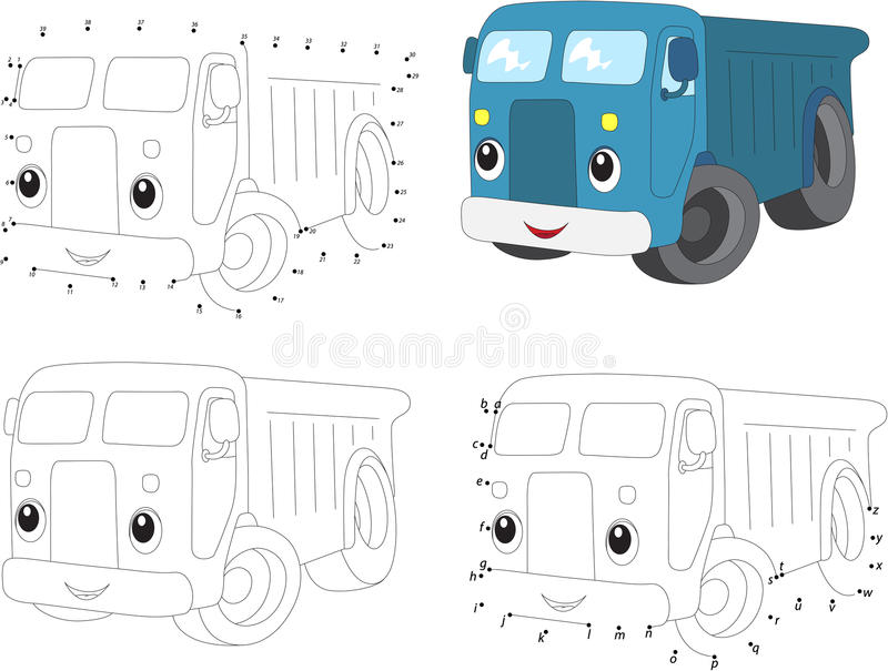 Cartoon blue lorry. Vector illustration. Coloring and dot to dot. Educational game for kids stock illustration