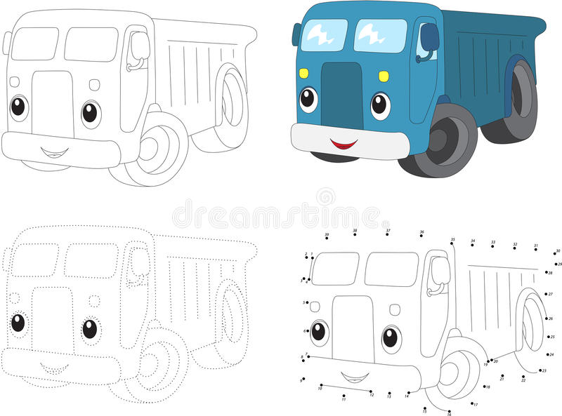 Cartoon blue lorry. Vector illustration. Dot to dot game for kid. Cartoon blue lorry. Dot to dot educational game for kids. Vector illustration royalty free illustration