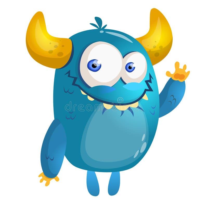 Cartoon blue monster. Vector illustration. vector illustration
