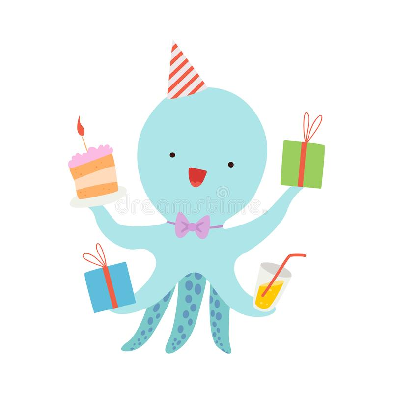 Cartoon octopus with presents. Vector illustration on a white background. stock illustration