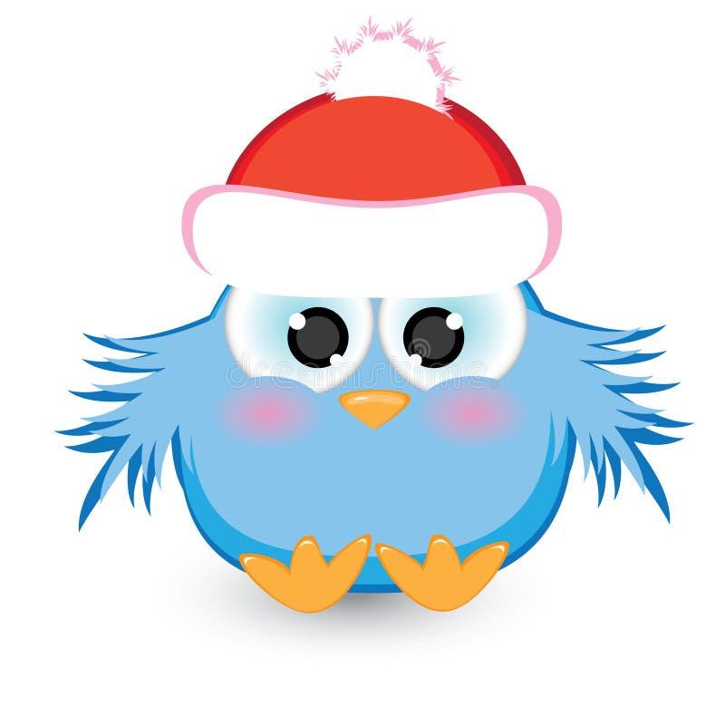Cartoon Blue Sparrow In A Red Cap Royalty Free Stock Photos