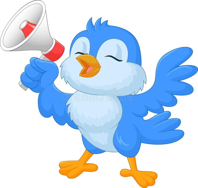 Cartoon bluebird with megaphone royalty free illustration