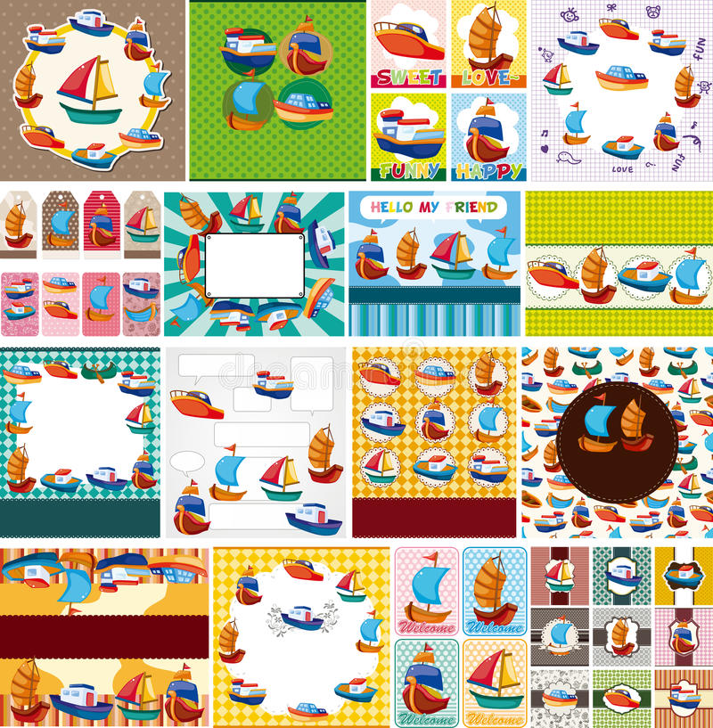 Free Cartoon Boat Card Stock Images - 22225664