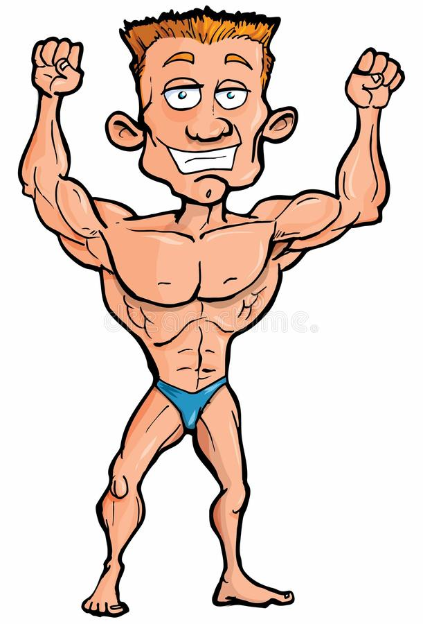 Cartoon Body Builder Flexing His Muscles Stock Vector Illustration