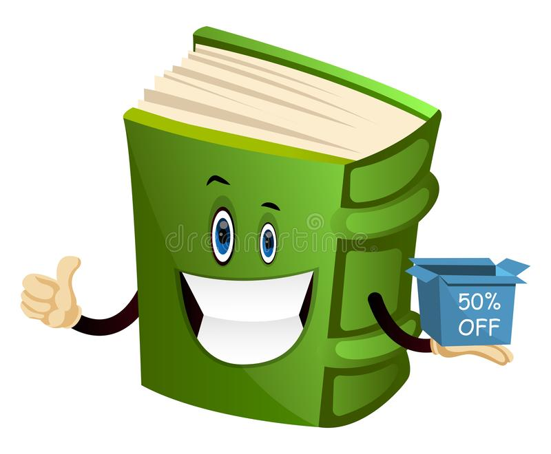 Cartoon book character is holding discount box, illustration, vector vector illustration