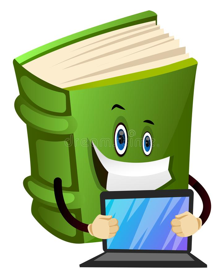 Cartoon book character is holding lap top, illustration, vector royalty free illustration