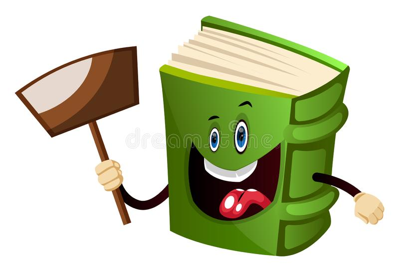 Cartoon book character is holding transparent sign, illustration, vector vector illustration