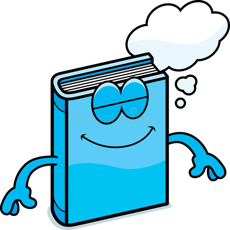 Cartoon Book Dreaming. A cartoon illustration of a book dreaming stock illustration