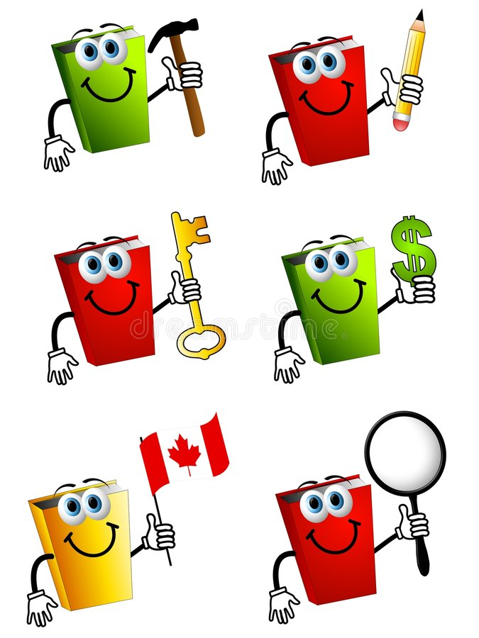 Cartoon Books Holding Objects 2. An illustration featuring your choice of 6 cartoonish book characters holding various objects to represent themes - hammer (home vector illustration