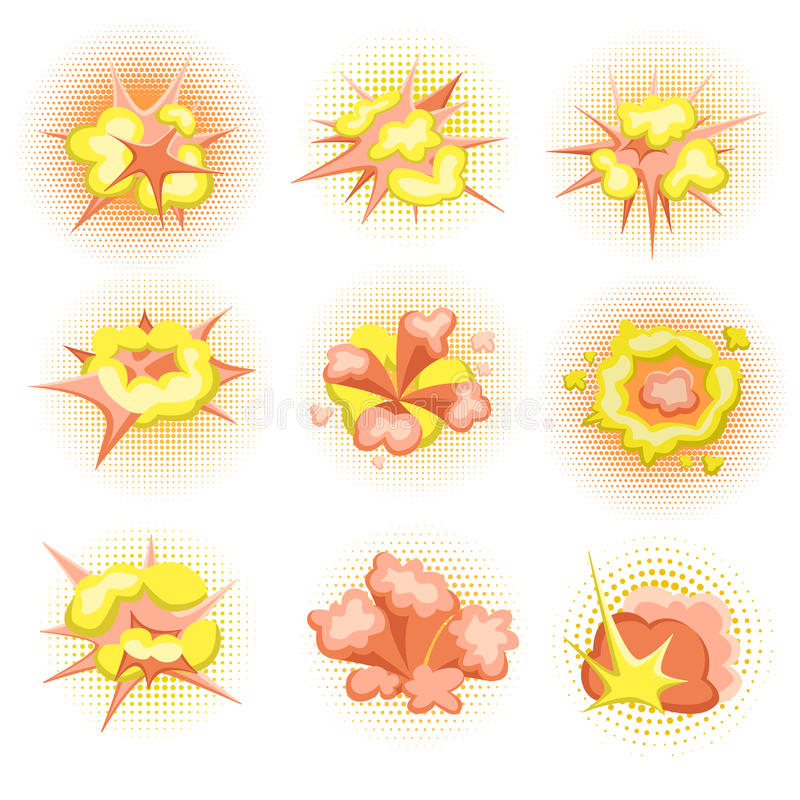 Cartoon Boom. Set of fire bomb explosions in comic style. Vector illustration, isolated. royalty free illustration