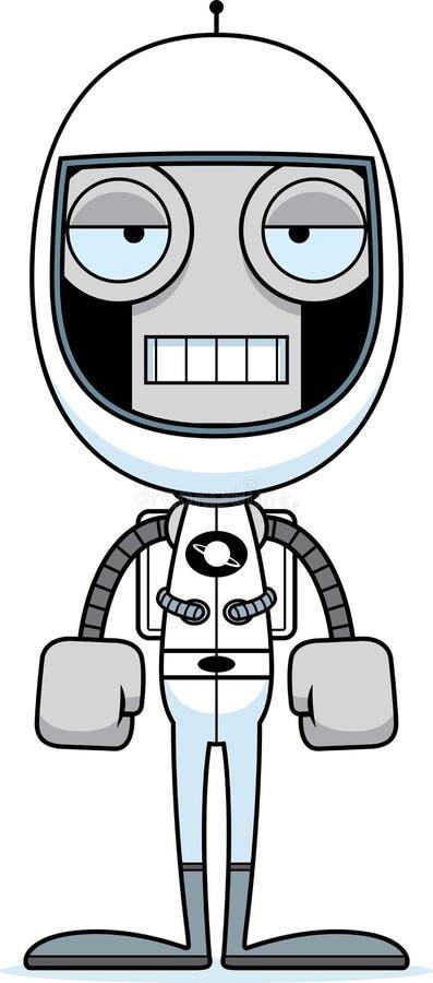 Cartoon Bored Astronaut Robot stock illustration