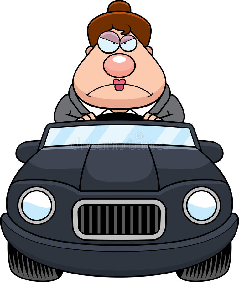 Cartoon Boss Driving Angry. A cartoon illustration of a businesswoman driving a car with an angry expression stock illustration