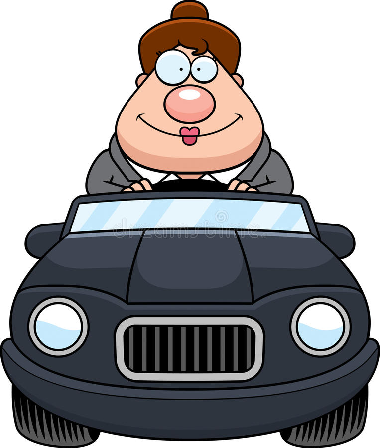Cartoon Boss Driving Happy. A cartoon illustration of a businesswoman driving a car and smiling stock illustration