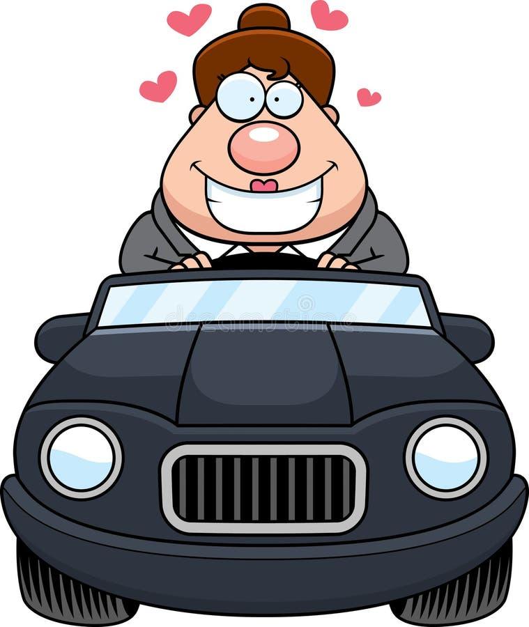Cartoon Boss Driving Love. A cartoon illustration of a businesswoman in love driving a car vector illustration