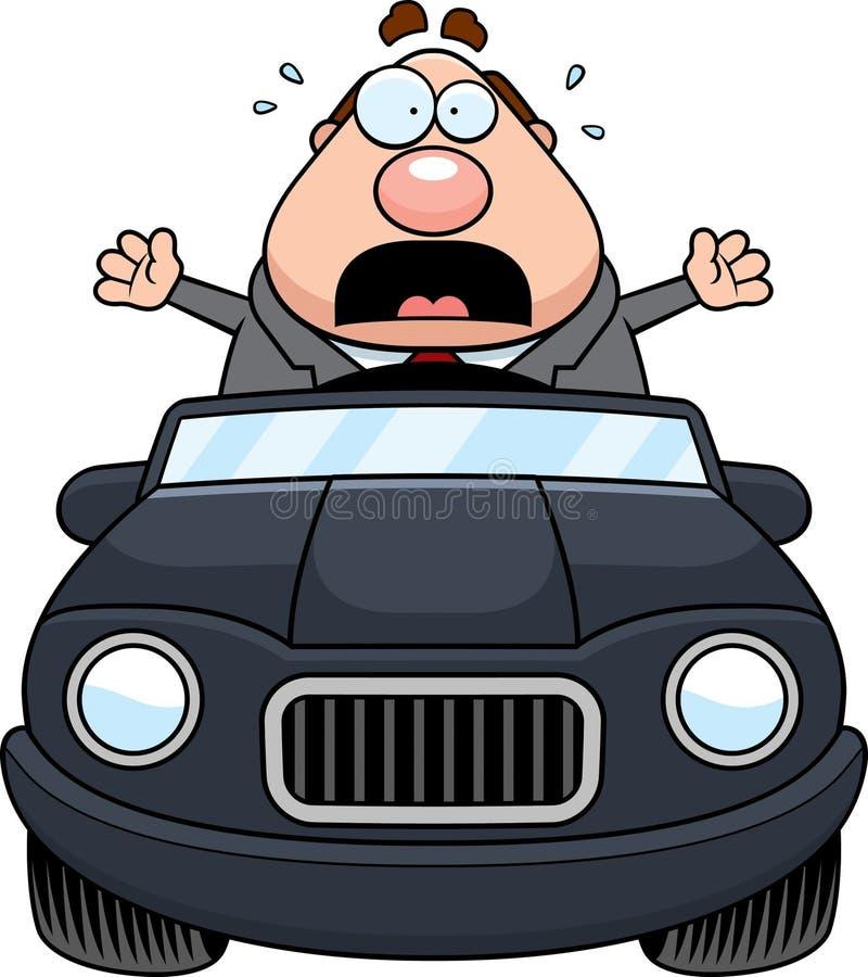 Cartoon Boss Driving Panic royalty free illustration